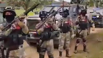The Mexican criminal organisation New Generation Jalisco Cartel displays its military hardware.