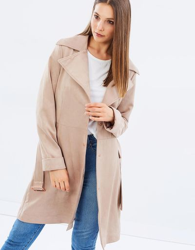 "<a href=""https://www.theiconic.com.au/magic-trench-coat-490992.html"" target=""_blank"" draggable=""false"">Unreal Fur Magic Trench Coat in Ice Coffee, $100</a>"