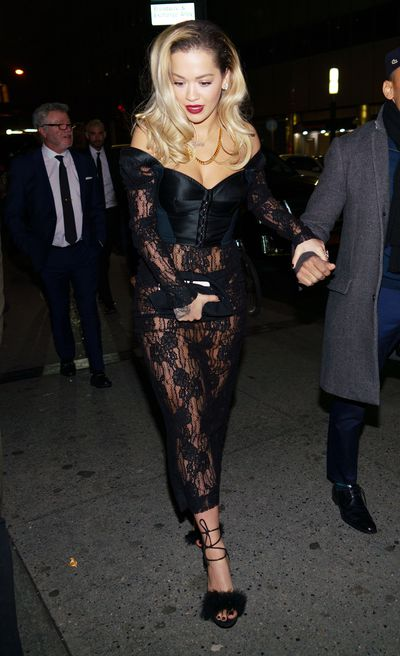 """<p>Rita Ora oozed old-Hollywood glamour at <a href=""""https://style.nine.com.au/2018/01/29/08/20/2018-grammy-awards-red-carpet"""" target=""""_blank"""">this year&rsquo;s Grammy Awards</a>, ruling the red carpet in a chic black gown by Australian label Ralph &amp; Russo.</p> <p>The<em> Your Song </em>singer continued her sartorial hot-streak for an appearance at Universal Music&rsquo;s official Grammy&nbsp;Awards after party in New York City.</p> <p>The 27-year-old opted for a daring black lace ensemble and leather beret that left little to the imagination.<br /> With the curtain closed on the 60th Grammy Awards, Ora wasn&rsquo;t the only A-lister who made a splash with their post-awards attire.</p> <p> Rihanna, Olivia Wilde and Australian model Shanina Shaik also kept the designer outfits and wow factor flowing well into the night.</p> <p>Click through to see all the highlights from the after parties of the 60th Grammy Awards.</p>"""