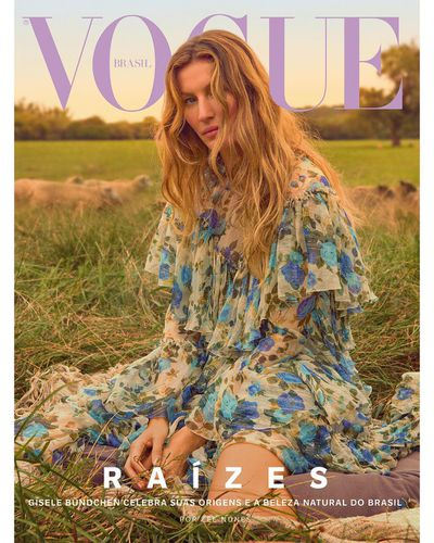 <p>Vogue Brazil October, 2018.</p> <p>Gisele wearing a floral Gucci dress and boots by Alexandre Birman.</p>