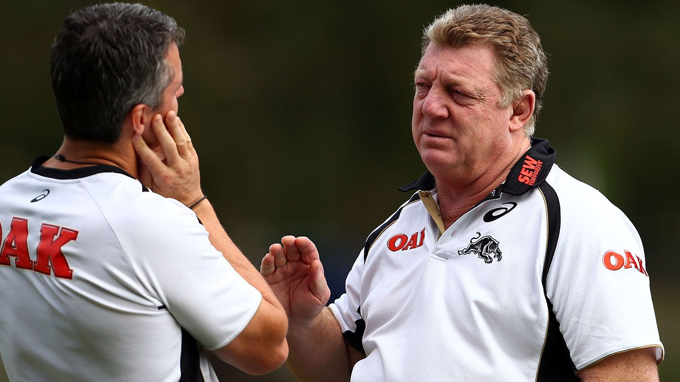 Phil Gould talks with coach Ivan Cleary during a Penrith Panthers NRL training session at Sportingbet Stadium on April 15, 2014