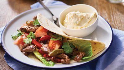 """Recipe: <a href=""""http://kitchen.nine.com.au/2017/07/26/12/19/incognito-sizzling-steak-fajitas"""" target=""""_top"""">Incognito sizzling steak fajitas</a>"""