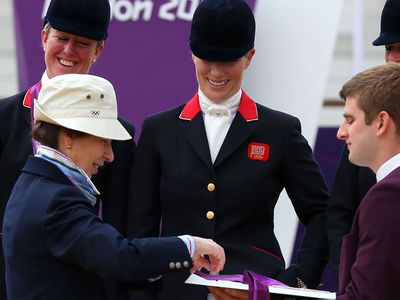 Princess Anne presents Zara with her medal