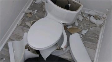 A Florida couple were shocked when the toilet in their ensuite exploded during a lightning strike.