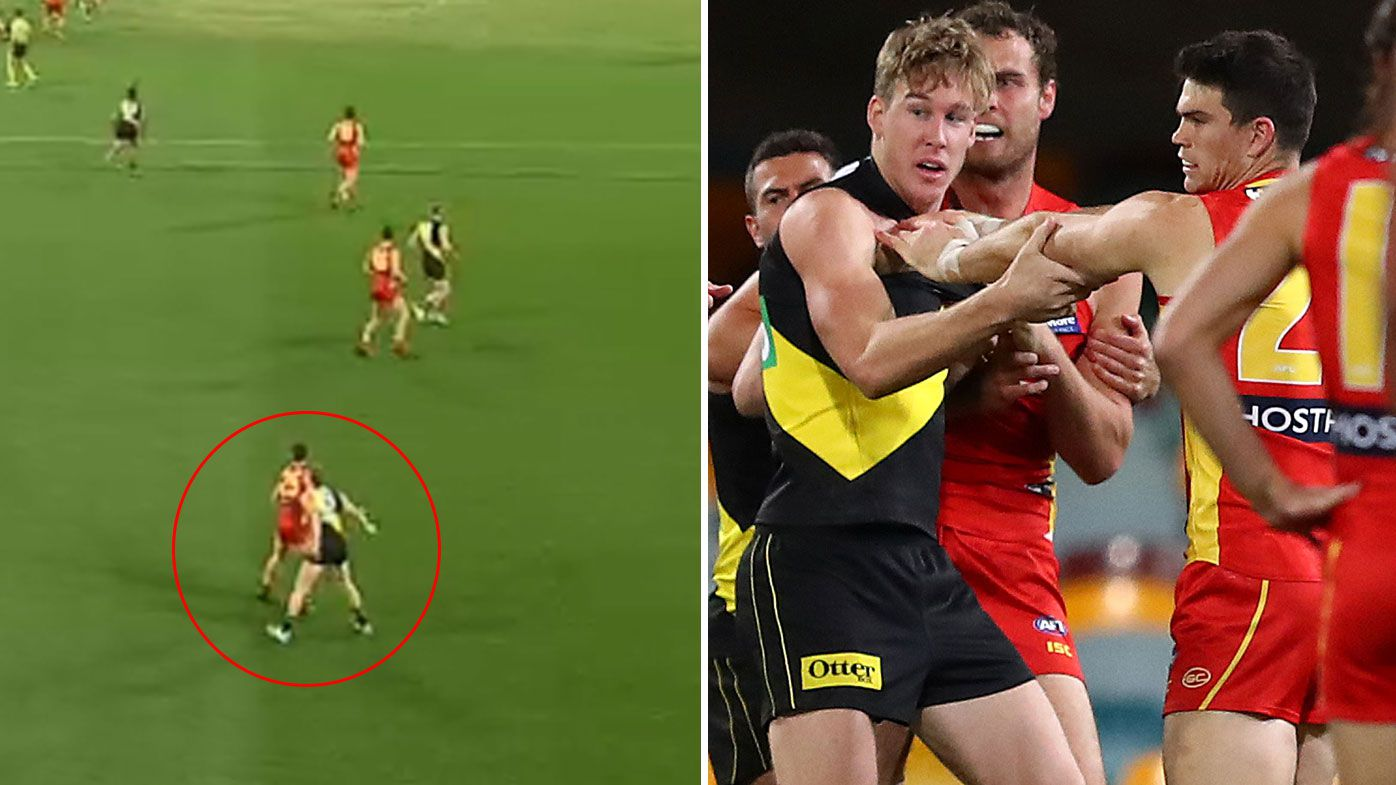 Tom Lynch under fire for 'cheap shot' on defender in Richmond's hard-fought win over Gold Coast