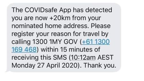 A hoax message 'from COVIDSafe app' claims to track users, after concerns about privacy were raised.