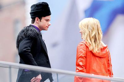 Chris Colfer and Dianna Agron in Times Square.