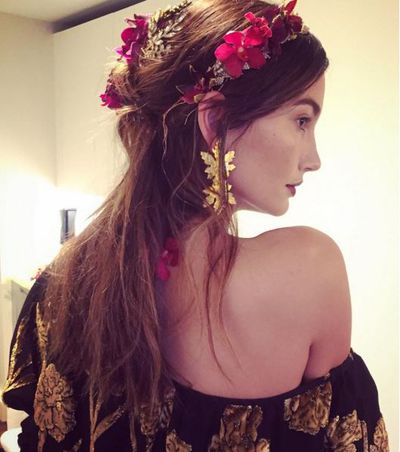 Lily Aldridge's romantic hair and make-up was on theme