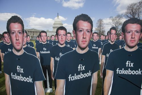 Cardboard cutouts of Zuckerberg were placed in the Capital. (AAP)