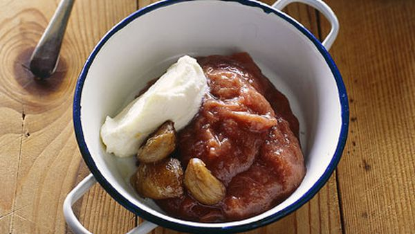 Stewed rhubarb and apple with roasted chestnuts