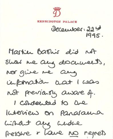 Handwritten note from Princess Diana about Martin Bashir and her Panorama interview