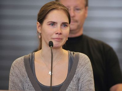 Amanda Knox speaks at a news conference at the Seattle-Tacoma International Airport in 2011.