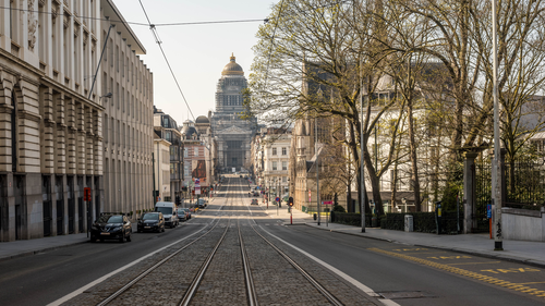 The empty streets of Brussels
