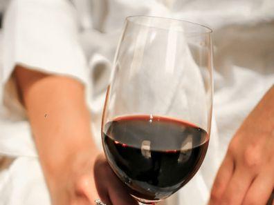 Red wine white dress