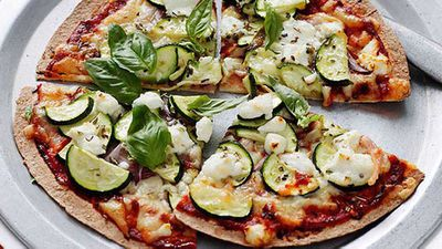 "Recipe:&nbsp;<a href=""http://kitchen.nine.com.au/2016/05/04/15/28/zucchini-and-goats-cheese-pizza"" target=""_top"">Zucchini and goat's cheese pizza</a>"