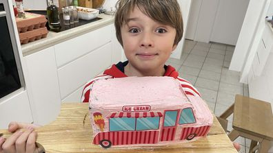 Jane's son Kase was so proud of his Bake Believe cake baking