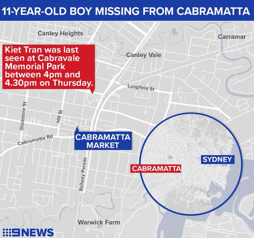 Kiet was last seen at Cabravale Memorial Park in Cabramatta yesterday afternoon. (NSW Police)
