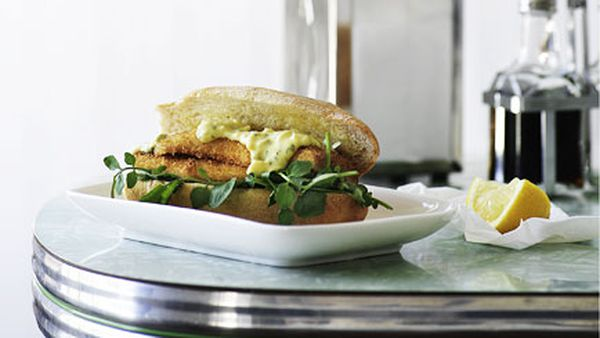 Whiting and watercress burgers