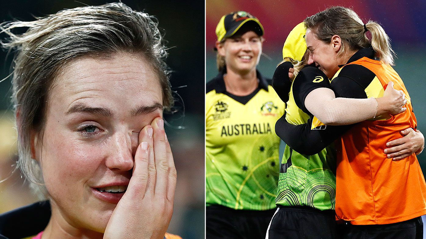 Ellyse Perry of Australia shows her emotions after Australia claimed victory during the ICC Women's T20 Cricket World Cup Semi Final