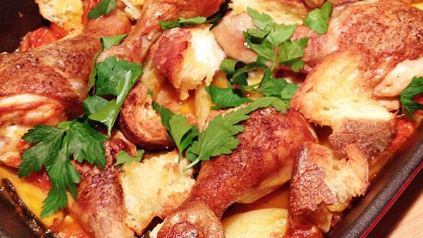 Chicken drumsticks with roasted panzanella
