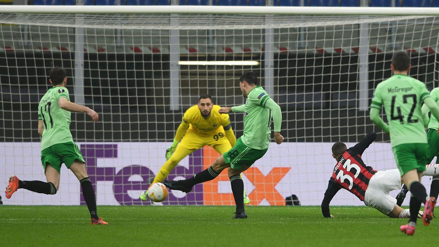Tom Rogic slots the opener against AC Milan. (Getty)