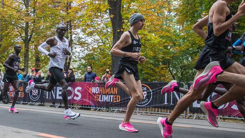 Eliud Kipchoge and pacers run during INEOS 159 Challenge on Oct 12, 2019 at Vienna