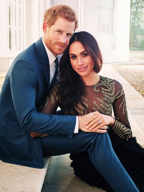 Britain's Prince Harry and Meghan Markle pose for one of two official engagement photos. Picture: AP