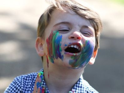 Prince Louis with paint on his face
