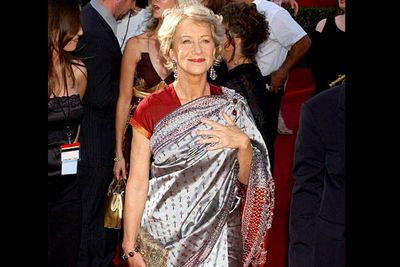 <b>Where she wore it:</b> The 56th Annual Primetime Emmy Awards, 2004.<br/><br/><b>The look:</b> Why the sari? Maybe Helen's been to <i>so </i>many awards ceremonies in her life that she figured she could show up in whatever she liked.