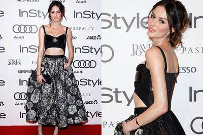 Cheeky! <I>The Face</i> mentor Nicole Trunfio flashes some flesh in her high-fash get-up.