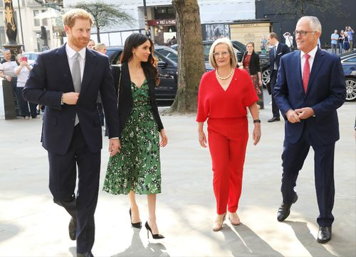 Prince Harry, Meghan Markle, Lucy Turnbull and Australian Prime Minister Malcolm Turnbull arrive during an Invictus Games event at Australia House in London. (AAP)