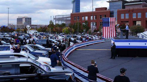 Barack Obama's drive-in rally in Philadelphia, Pennsylvania.