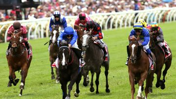 Antelucan ridden by Chad Schofield (blue cap) wins Race 1 the Emirates Airline Plate. (AAP)