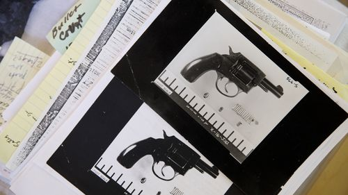 Evidence photographs of the gun used in the assassination plot to kill Robert F. Kennedy are displayed at the home of Paul Schrade in Los Angeles. Schrade was standing behind and was wounded when Presidential candidate Robert F. Kennedy (RFK) was assassinated in 1968 at the Ambassador Hotel and believes that additional gunmen were involved. (Getty)