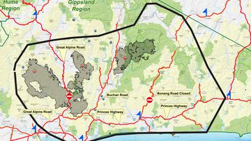 A fire showing the East Gippsland region of concern to authorities.