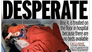 A photo of a sick boy sleeping on a hospital floor because no beds were available has become one of the defining images of Britain's bruising election campaign.