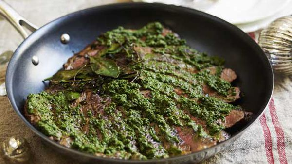 Guillaume Brahimi's seared flank of Rangers Valley with salsa verde