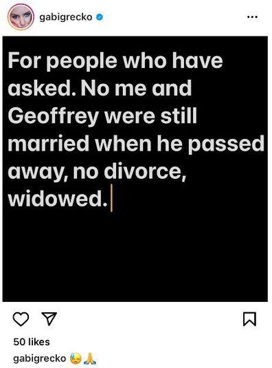 Gabi Grecko reveals she was still legally married to Geoffrey Edelsten when he died.