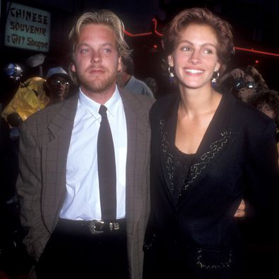 Kiefer Sutherland and Julia Roberts during Flatliners premiere at Mann's Chinese Theater in Hollywood, California, United States in 1990.