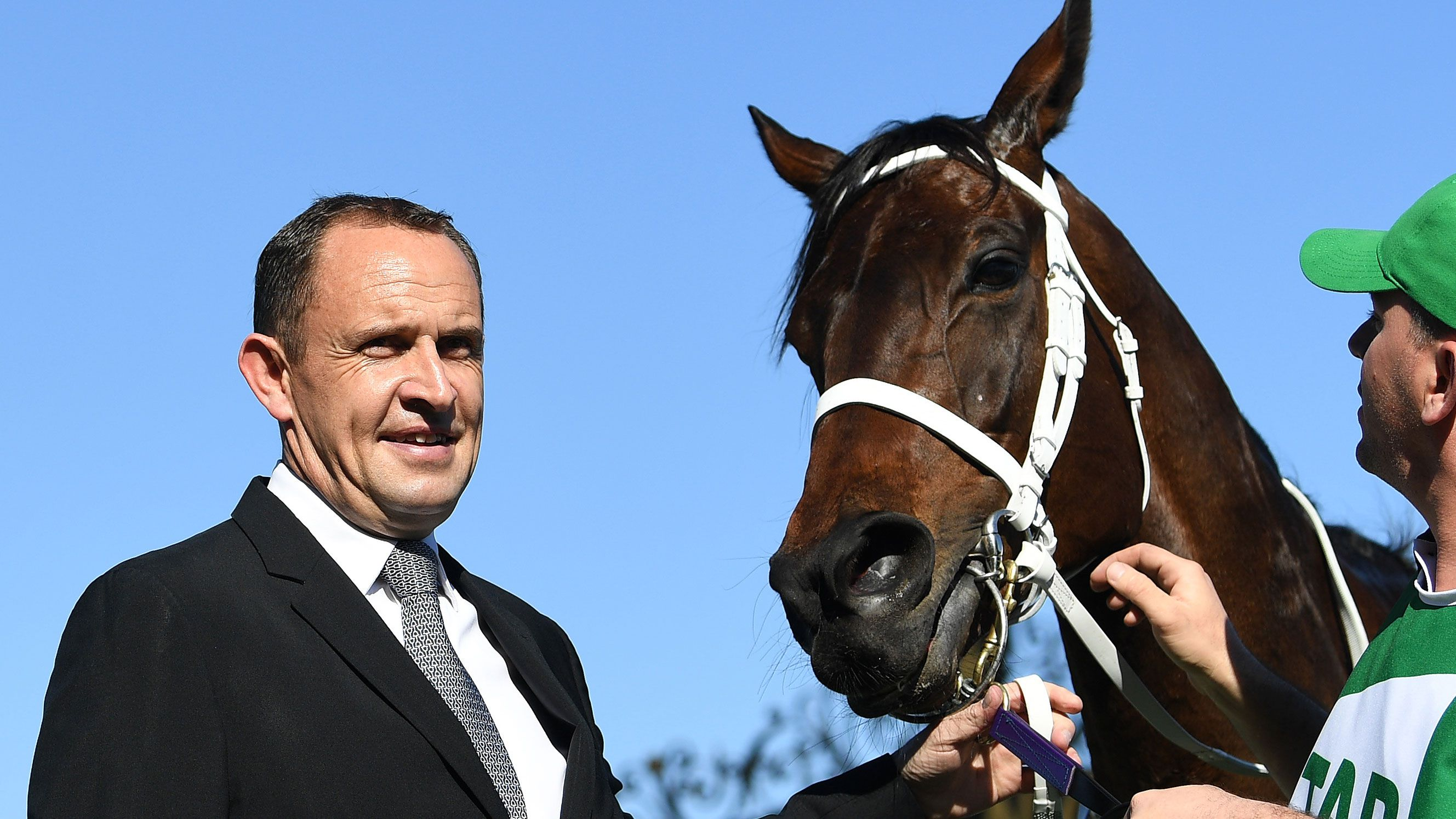 Trainer Chris Waller with Winx.