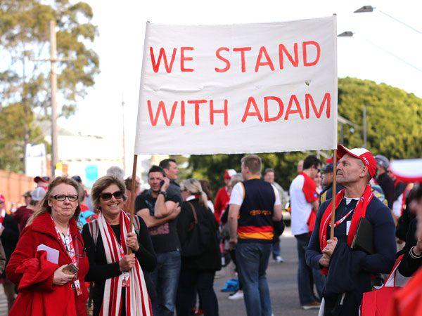 Swans fans support Adam Goodes. (AAP)
