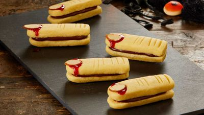 "Recipe: <a href=""http://kitchen.nine.com.au/2017/10/27/14/19/kirsten-tibballs-ghoulish-shortbread-fingers"" target=""_top"">Kirsten Tibballs' ghoulish shortbread fingers</a>"