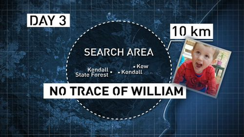No trace of William by day three. (9NEWS)