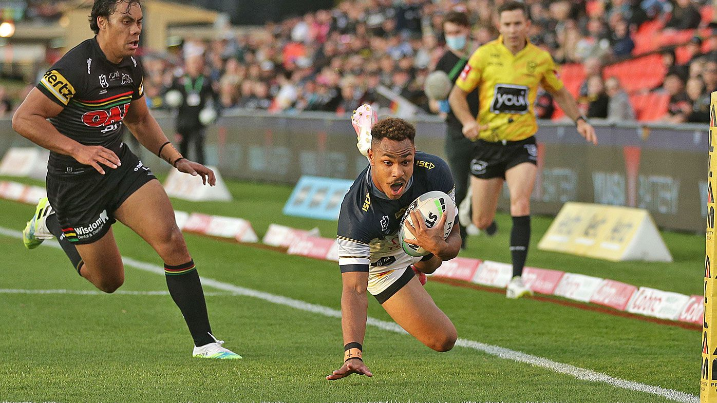Hamiso Tabuai-Fidow of the Cowboys scores a try
