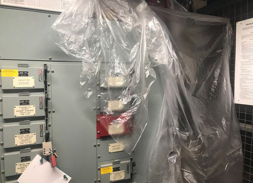 Plastic covers an electrical main substation. Picture: Gabrielle Adams