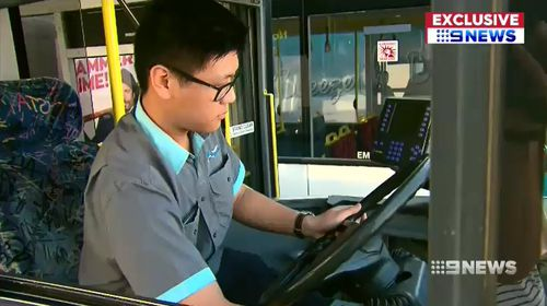 Mr Zhou said he pressed an emergency button and alerted police when a man started assaulting people on-board the bus. Picture: 9NEWS.