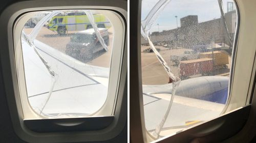 Pictures on social media show the window on the plane was cracked. (Twitter)