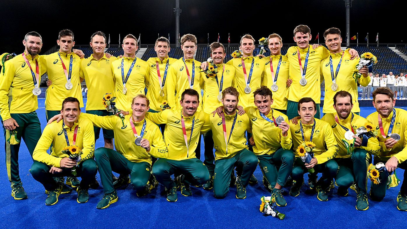 The Australian team with their silver medals after losing to Belgium in the final at the Tokyo Olympics.