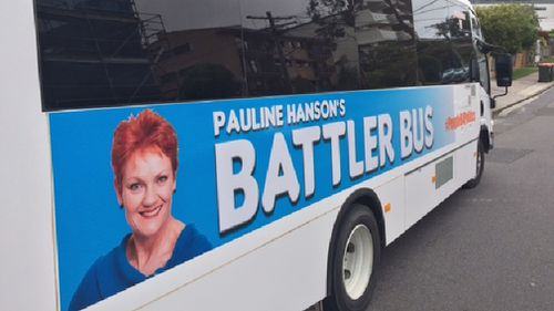"Pauline Hanson will board the ""Battler Bus"" on the Queensland campaign trail. (Darren Curtis)"
