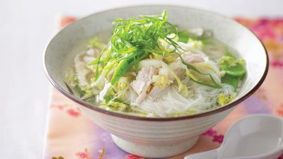 "Recipe: <a href=""http://kitchen.nine.com.au/2016/05/13/12/05/chicken-and-rice-noodle-soup"" target=""_top"">Chicken and rice noodle soup</a>"